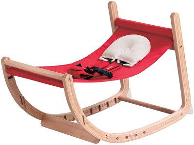 ファルスカスクロールチェアプラスナチュラル×レッド746102/ロッキングチェアベビーチェアキッズチェアダイニングチェア赤ちゃんから大人まで木製【ラッキーシール対応】