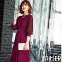 【送料無料】【AIMER】フロッキーレーススリーブドレス
