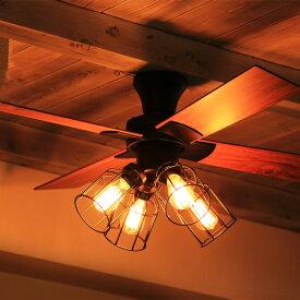 シーリングファン ジャヴァロエルフ リモコン付き 4灯 JAVALO ELF VINTAGE Collection 天井照明 LED電球対応 JE-CF001V