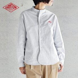【2020秋冬】ダントン DANTON 長袖バンドカラー ポケット付きシャツ #JD-3606TRD 綿 レディース ストライプ スタンドカラー 2020AW 【予約販売:9月上旬発送】