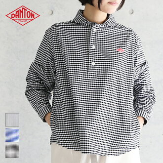 Pullover shirt gingham / stripe #JD-3564TRD Lady's cotton cotton work taste blouse 2020SS | with Danton DANTON long sleeves folded neckpiece of haori pocket Casual clothes