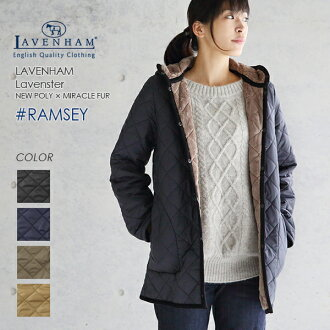 < 2015 in autumn and winter is in stock now! > LAVENHAM lavenham Quilted Jacket #RAMSEY 281411 (NEW POLY×FUR) [LAVENHAM coats Quilted Jacket Women's middle-length polyester fur lavenham Ramsey Raven star 2015 AW]