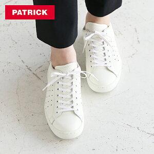 パトリック PATRICK パンチ14 / ホワイト レザーシューズ / スニーカー 靴 革靴 牛革 フラットシューズ フランス レディース 定番モデル【交換対応可】 | シューズ カジュアルシューズ カジュア