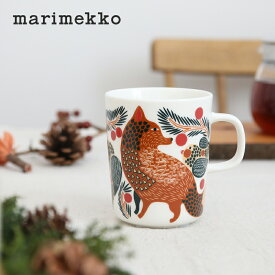 【正規品】marimekko / マリメッコ Ketunmarja(ケトゥンマルヤ) マグカップ クリスマス限定 2021 冬 キツネ 鳥 ベリー カップ コップ 磁器 食器 コーヒーカップ テーブルウェア クリスマスギフト プレゼント