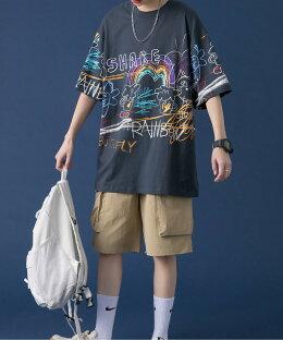 【2021SS】tシャツメンズ半袖綿コットン綿100%お揃い服春夏ビッグシルエットメンズレディースビッグtシャツオーバーサイズユニセックス韓国ライクおそろオルチャンファッション落書き風ストリート【HOOK】