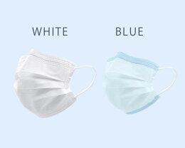 【50枚入り】マスク50枚男女兼用三層構造不織布マスクブルーホワイト青白レギュラーサイズ三段プリーツ花粉対策大人用在庫あり使い捨て【お一人様6点まで】