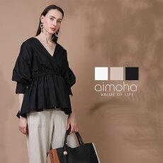 ブラウスレディース七分袖半袖オフィスフレアロングゆったりブラウスVネック涼しいフレアシャツ体形カバーおしゃれ大人可愛い20代30代40代50代黒白ベージュ