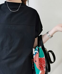 【綿100%モックネックTee】tシャツレディース半袖モックネックモックネックtシャツゆったり綿綿100%コットンtシャツフレンチスリーブ二の腕カバー体系カバーロゴ刺繍長め丈カットソー春夏【前後2WAY】