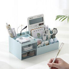 メイクボックス大容量コスメボックス可愛いおしゃれ卓上小物入れ小物収納引き出しペン立て歯ブラシ立て文房具化粧品ボックスメイクケース収納スキンケアインテリア防水北欧風ピンクホワイトブルー