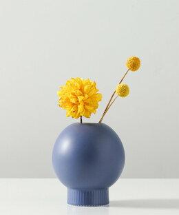 フラワーベースおしゃれ陶器花瓶室内可愛い丸型インテリア韓国ライク一輪挿しブラウンピンクオレンジネイビーイエロー【インテリアとしておしゃれなフラワーベース】