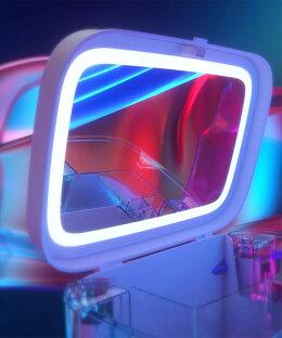 【※予約販売】メイクボックス大容量コスメボックス可愛いおしゃれ化粧品鏡LEDメイクミラー太陽光ボックスメイクケース収納スキンケア小物入れインテリア防水ピンクホワイト【LEDダブルミラー付きUSB充電】