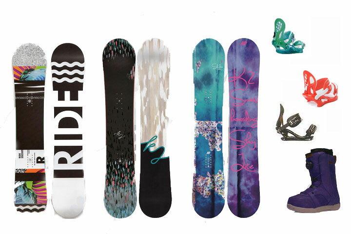 ワックス・取付・送料無料 K2 RIDE SNOWBOARDS [ レディース スノーボード 3点セット @117720] スノボ 【ワックス 取付無料】【送料無料】【正規品】