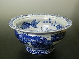 """青花 金魚水盤 魚鉢 10""""メダカ鉢・金魚鉢としても使用できます"""