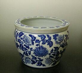 """青花丸型大型魚鉢 12""""洋蓮青色メダカ金魚鉢としても使用できます"""