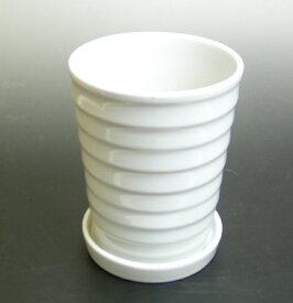 限定商品!! 国華園 観葉陶器鉢 受皿セット 5号 ホワイト