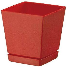 大和プラスチック 鉢・プランター クエンチローポット(プレート付) 6号 140×140×H150 レッド