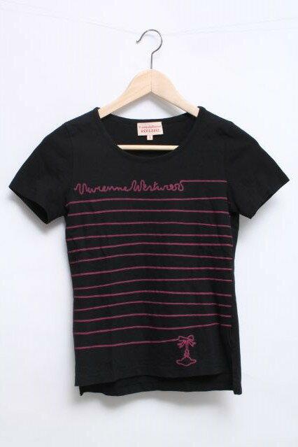 【8/15-8/26までSUMMER SALE500点20%OFF!】【¥3800→3040】【USED】ロゴプリントTシャツ(BK)Vivienne Westwood(ヴィヴィアンウエストウッド・ビビアン)【中古】