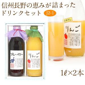 【送料込|あす楽】果汁100% ジュース ドリンク 2本セット(J2-1)(りんご ブルーベリー)1L×2本 プレゼント 手土産 お返し 誕生日 快気祝い 粗品 コンペ 景品 フルーツ 果物 内祝い お供え 贈り物