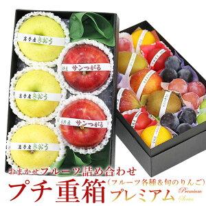 【送料込】プチ重箱プレミアム FPJ-11(プチフルーツ15個 旬のりんご2種 計5個入り)食べ比べ りんご 林檎 詰め合わせ プレゼント 内祝い 誕生日 お供 お礼 快気祝い お祝い お供え 果物 くだ
