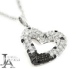 【スーパーSALE10%オフ!】ブラックダイヤモンド ダイヤモンド 0.8ct オープンハート パヴェダイヤ ネックレス K18WG ホワイトゴールド<スライド式アジャスター付>【中古】【ジュエリー】MEL