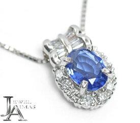 【スーパーSALE10%オフ!】ブルーサファイア 0.98ct ダイヤモンド 0.25ct ネックレス PT850 プラチナ【中古】【ジュエリー】MEL