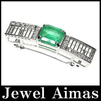 에메랄드 12.585 ct다이아몬드 0.514 ct끈브로치 톱 PT900