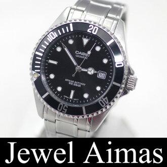 卡西欧体育潜水员外观MTD-1043A不锈钢黑/黑色表盘人手表二手货