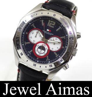 Tommy Hilfiger quartz chronograph Navy * red leather belt men's watch