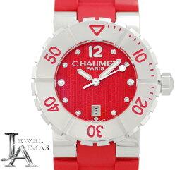 【CHAUMET】ショーメ クラスワン W1722P-33R デイト 11P ダイヤモンド 赤 レッド 文字盤 ラバーベルト レディース クォーツ 美品【中古】【腕時計】