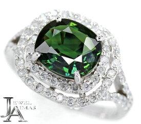 【スーパーSALE10%オフ!】グリーンサファイア 2.59ct ダイヤモンド 0.56ct リング 13.5号 PT900 プラチナ【新品】【ジュエリー】MEY
