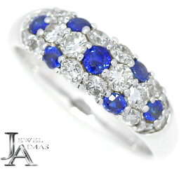ブルーサファイア 0.57ct ダイヤモンド 0.9ct リング 15号 K18WG ホワイトゴールド【中古】【ジュエリー】MJB