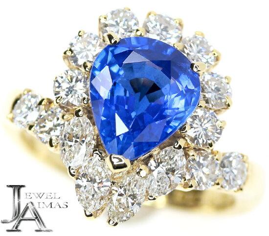 pontevekio<高珠寶>藍寶石2.09ct鑽石1.19ct一對樣子泪珠環9號K18YG黄色黄金 Jewel Aimas