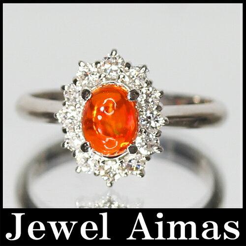 【ジュエリー】<遊色効果>メキシコオパール 0.63ct ダイヤモンド 0.41ct 11号 リング PT900 【中古】