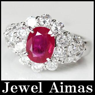 缅甸产(缅甸产)Manmar(Burma)红宝石1.88ct钻石1.47ct环10.5号PT900 GIA