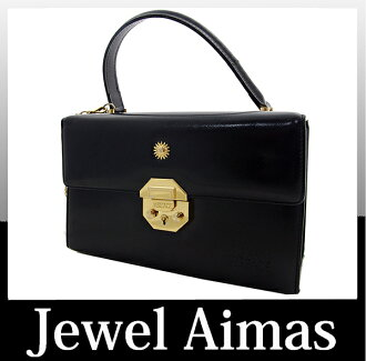 GIANNI VERSACE Gianni Versace Sun charm vanity hand bag black leather Sunburst