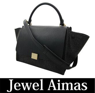 Celine Trapeze 2-WAY black grey calfskin wool hand shoulder bag black 169542 875b1190894e5