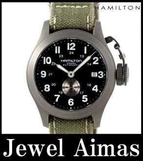 汉密尔顿卡其色海军经典 H774450 日期自动上弦自动男装黑色拨 200 米防水钛尼龙表带军用手表