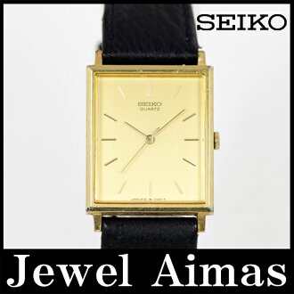 Seiko 2C21-5180 square Gold Dial SS stainless steel leather strap mens quartz
