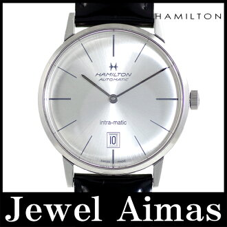 Hamilton intramatic date back schedule H384550 silver character Panel SS stainless steel mens automatic winding