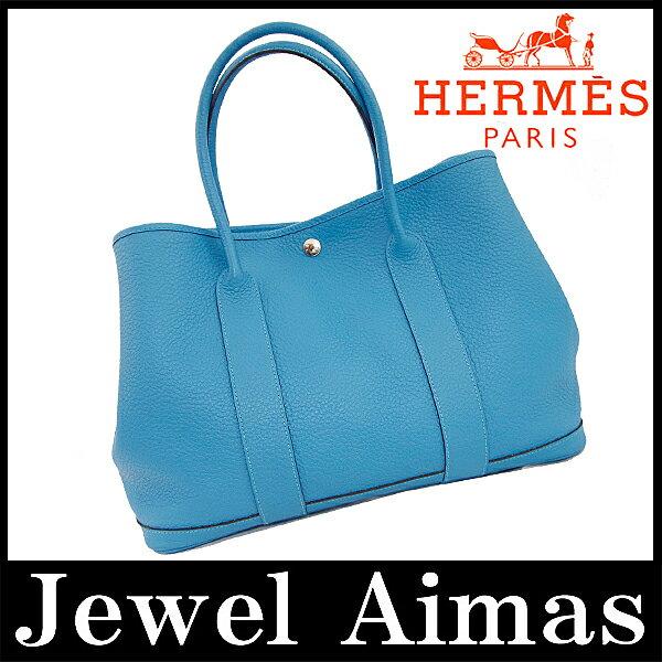 【HERMES】 エルメス ガーデンパーティ PM トート ハンド バッグ ターコイズ ブルー ネゴンダ【中古】 Garden Party bag PM