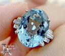 アクアマリン アクワマリン 5.39ct ダイヤモンド 0.25ct ヴィンテージ 千本通し リング 12号 PM刻印 PT850…
