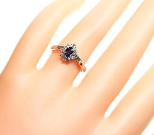 【ジュエリー】サファイアブルーサファイア0.32ctダイヤモンド0.26ctリング12号PT900【中古】ZPY