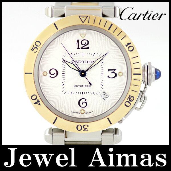 【Cartier】カルティエ パシャ 38mm デイト W31035T6 ホワイト ギョーシェ 文字盤 SS ステンレス K18 YG イエローゴールド コンビ メンズ 自動巻き【中古】【腕時計】