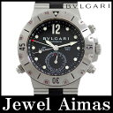 【BVLGARI】ブルガリ ディアゴノ スクーバ GMT SD38SGMT 200m防水 デイト クロノメーター ブラック 文字盤 SS ステンレス 純正ラバー ベルト メンズ 自動巻き【中古】【腕時