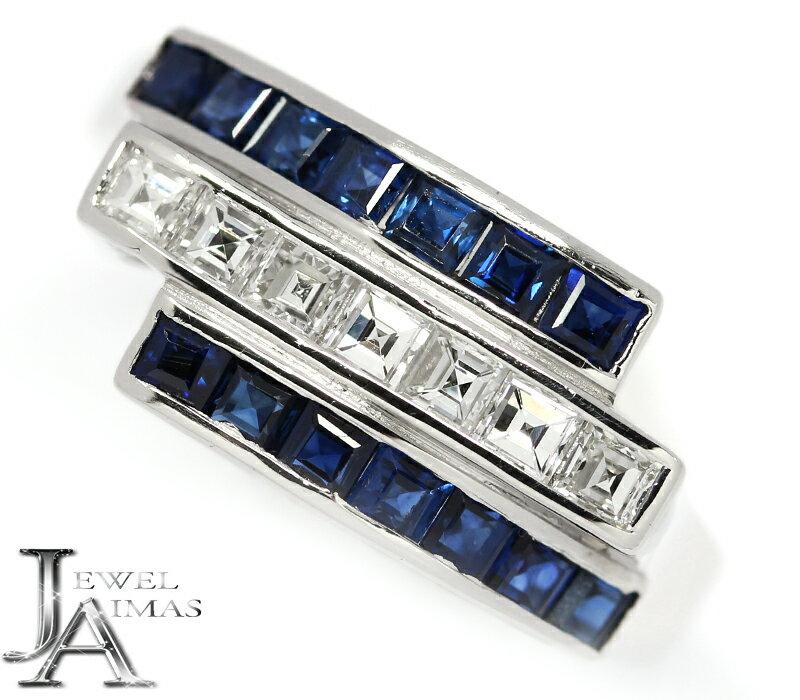 ブルーサファイア 0.95ct ダイヤモンド 0.41ct スクエア リング 15号 PT900 プラチナ【中古】【ジュエリー】MEM