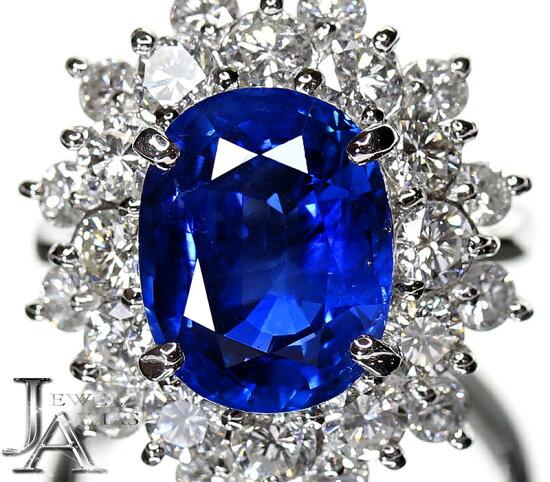 緬甸產(緬甸產)非的加熱藍寶石藍寶石5.73ct鑽石2.36ct環PT900 11號<不加熱/no heating>藍色藍寶石Burma Myanmar Jewel Aimas