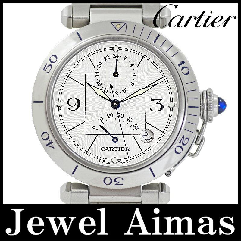 【Cartier】カルティエ パシャ 38mm W31037H3 GMT パワーリザーブ シルバー ギョーシェ 文字盤 SS ステンレス メンズ 自動巻き【中古】【腕時計】