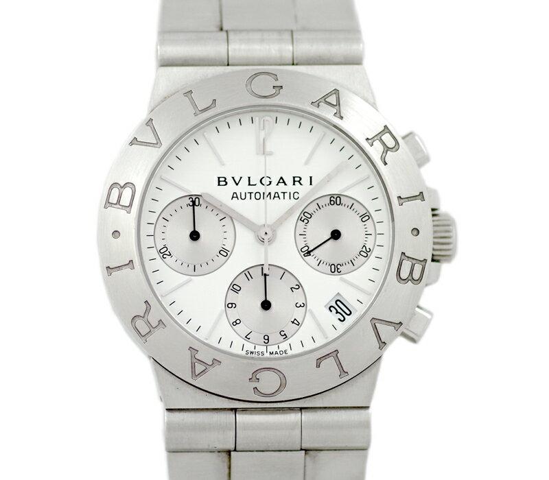 【BVLGARI】ブルガリ ディアゴノ スポーツ クロノグラフ CH35S 白 ホワイト 文字盤 SS ステンレス メンズ 自動巻き【中古】【腕時計】