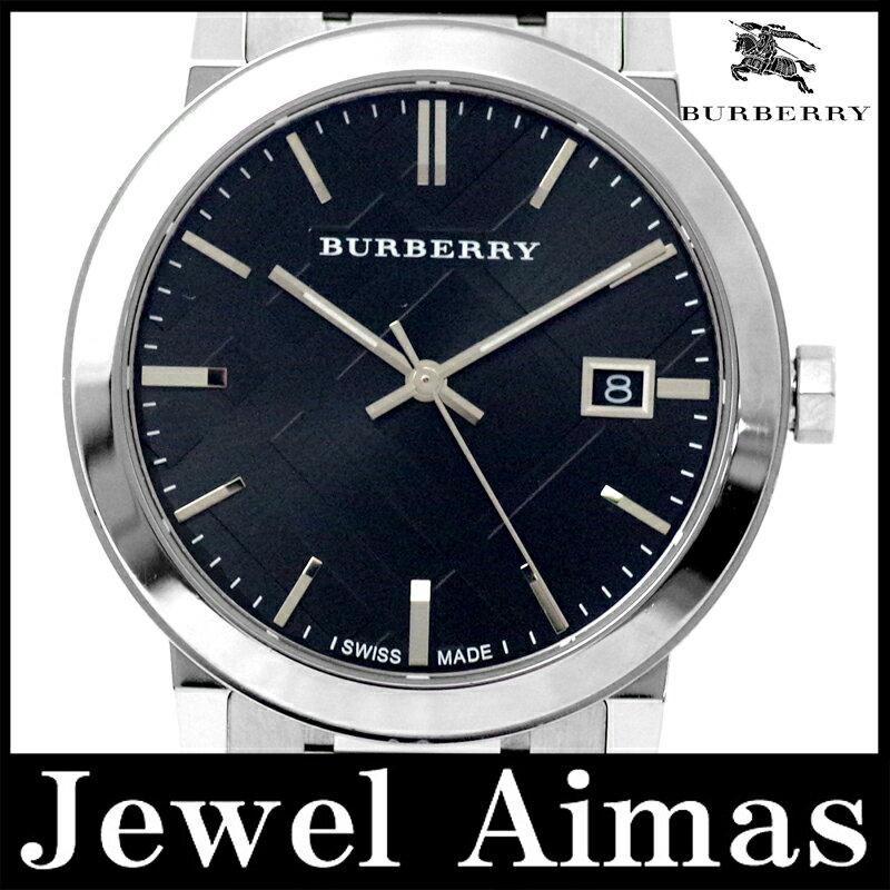 【BURBERRY】バーバリー シティ BU9001 デイト ブラック 黒 文字盤 バーバリーチェック SS ステンレス メンズ クォーツ【中古】【腕時計】