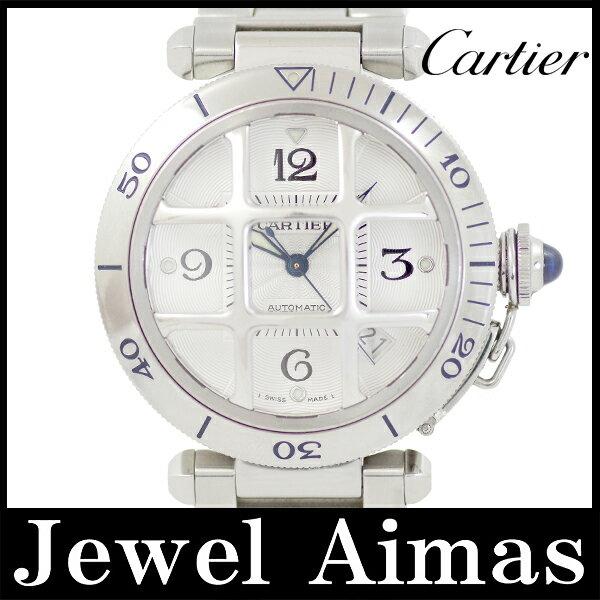 【Cartier】カルティエ パシャ グリッド 38mm コンベックスグリッド W31059H3 裏スケルトン シルバー 文字盤 SS ステンレス メンズ 自動巻き コンベックス グリット【中古】【腕時計】
